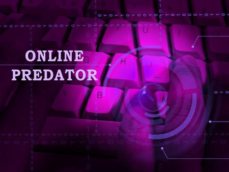 Prédateur en ligne traque contre une victime inconnue Illustration 3d montre cyberharcèlement des délinquants sur les jeunes adolescents