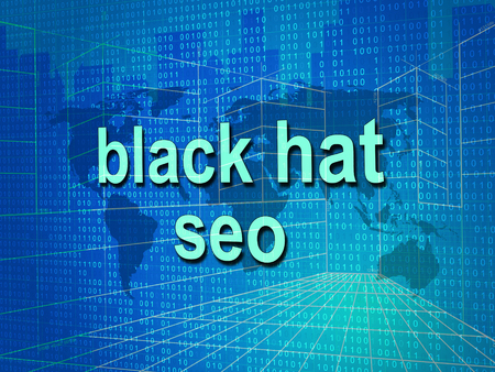 Black Hat Seo Website Optimization 3d Illustration Shows Search Engine Marketing Such As Linkbuilding Keywords Ranking And Promotion