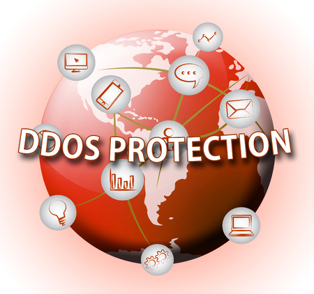 Ddos Protection Denial Of Service Security 3d Illustration Shows Malware And Intruder Risk On System Or Web