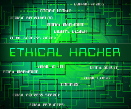 Ethical Hacker Tracking Server Vulnerability 2d Illustration Shows Testing Penetration Threats To Protect Against Attack Or Cybercrime Banque d'images