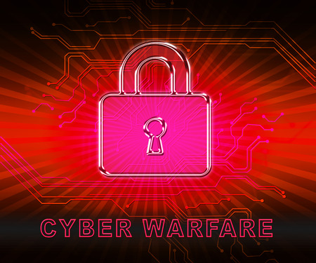 Cyber Warfare Hacking Attack Threat 2d Illustration Shows Government Internet Surveillance Or Secret Online Targeting Imagens