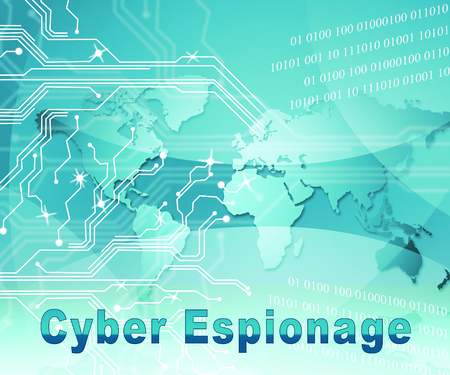 Cyber Espionage Criminal Cyber Attack 2d Illustration Shows Online Theft Of Commercial Data Or Business Secrets