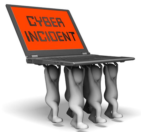 Cyber Incident Data Attack Alert 3d Rendering Shows Hacked Networks Or Computer Security Penetration Stock Photo