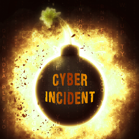 Cyber Incident Data Attack Alert 3d Illustration Shows Hacked Networks Or Computer Security Penetration Foto de archivo - 104904932