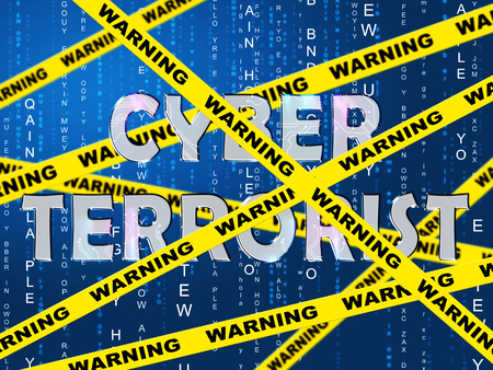Cyber Terrorist Extremism Hacking Alert 2d Illustration Shows Breach Of Computers Using Digital Espionage And Malware