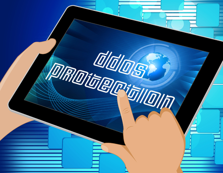 Ddos Protection Denial Of Service Security 3d Illustration Shows Malware And Intruder Risk On System Or Web Stock Photo
