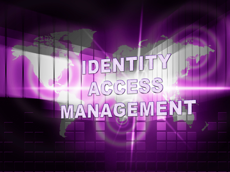 Identity Access Management Fingerprint Entry 3d Illustration Shows Login Access Iam Protection With Secure System Verification Banco de Imagens
