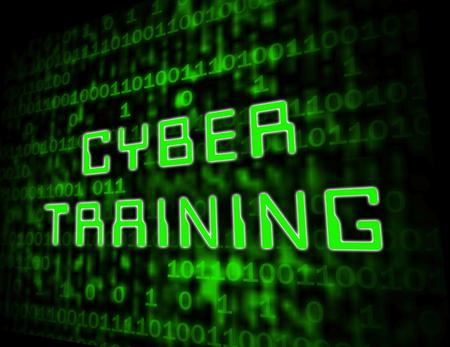 Cyber Training Virtual Web Class 3d Illustration Shows Online Learning Webinars Or Mentorship