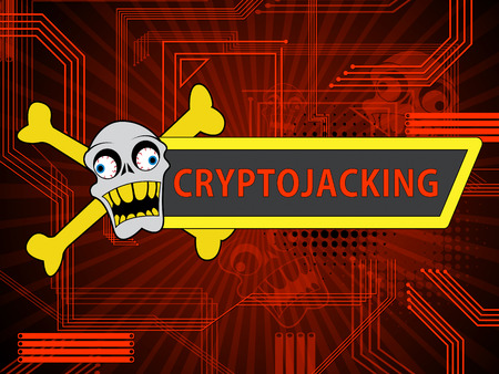 Cryptojacking Crypto Attack Digital Hijack 2d Illustration Shows Blockchain Currency Jacking Or Bitcoin Hacking