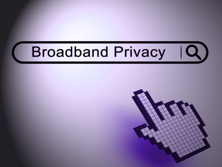 Broadband Privacy Secure Internet Protection 2d Illustration Shows Telecommunication And Wireless Streaming Shield Over Network Stock Photo