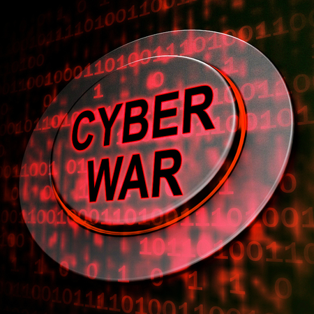 Cyberwar Virtual Warfare Hacking Invasion 3d Rendering Shows Government Cyber War Or Army Cyberterrorism Combat