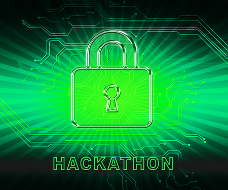 Hackathon Technology Threat Online Coding 2d Illustration Shows Cybercrime Coder Meeting To Stop Spyware Or Malware Hacking