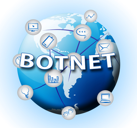 Botnet Illegal Scam Network Fraud 2d Illustration Shows Computer Cybercrime Hacking And Spyware Privacy Risk