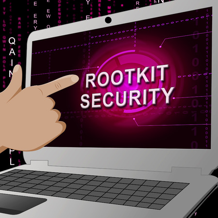 Rootkit Security Data Hacking Protection 3d Illustration Shows Software Protection Against Internet Malware Hackers 版權商用圖片