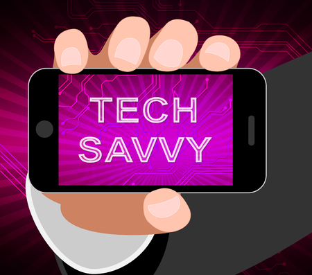 Tech Savvy Digital Computer Expert 2d Illustration Means Hitech Smart Professional Technical Expertise