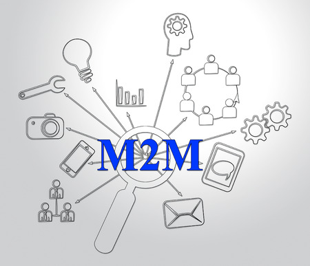 M2M Machine Connectivity And Cooperation 2d Illustration Shows Interconnected Communication And Networking By Linked Manufacturing