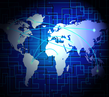 Interconnected Globe World Technology Link 2d Illustration Shows Worldwide Trade Or Connectivity Through A Global Network Stok Fotoğraf - 104937556