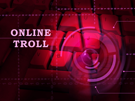 Online Troll Rude Sarcastic Threat 3d Illustration Shows Cyberspace Bully Tactics By Trolling Cyber Predators Stock Photo