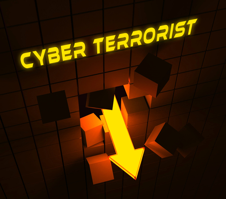 Cyber Terrorist Extremism Hacking Alert 3d Rendering Shows Breach Of Computers Using Digital Espionage And Malware