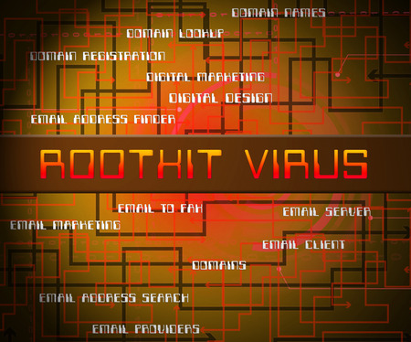 Rootkit Virus Cyber Criminal Spyware 2d Illustration Shows Criminal Hacking To Stop Spyware Threat Vulnerability Stock Photo