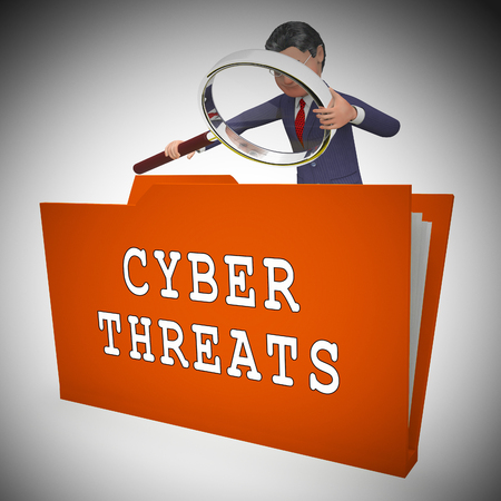 Cyber Threat Intelligence Online Protection 3d Rendering Shows Online Malware Protection Against Ransomware Scams And Risks