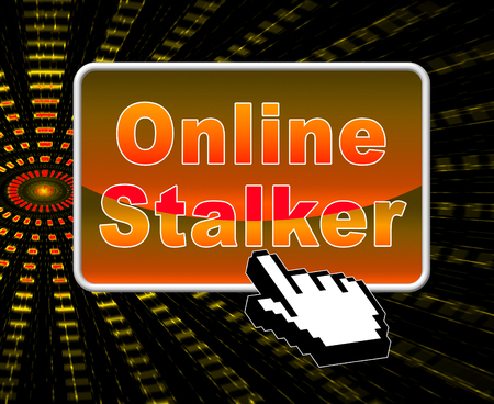 Online Stalker Evil Faceless Bully 2d Illustration Shows Cyberattack or Cyberbullying By A Suspicious Spying Stranger