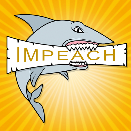 Impeachment Shark To Impeach Corrupt President Or Politician. Demonstration Against Government For Legal Removal