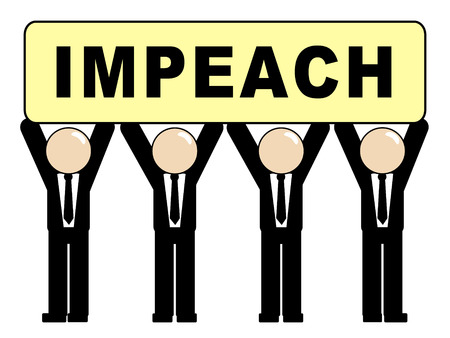 Impeach Sign For Removal Of Corrupt President Or Politician. Legal Indictment In Politics.