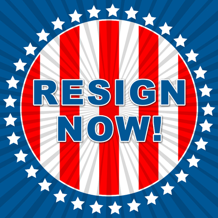 Resign Now Flag Means Quit Or Dismissal From Job Government Or President. Anti Corruption Outcry Dismissal Protest Stock fotó