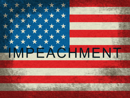 Impeachment American Flag To Impeach Corrupt President Or Politician. Demonstration Against Government For Legal Removal