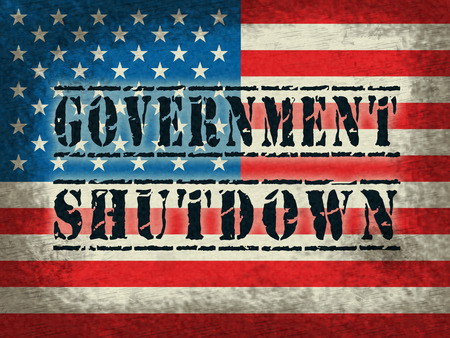 Government Shut Down Flag Means United States Political Closure. President And Senators Cause Shutdown Across The Nation Stock Photo