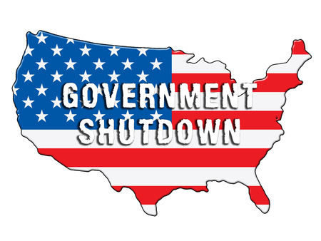 Government Shutdown Symbol Means America Closed By Senate Or President. Washington DC Closed United States