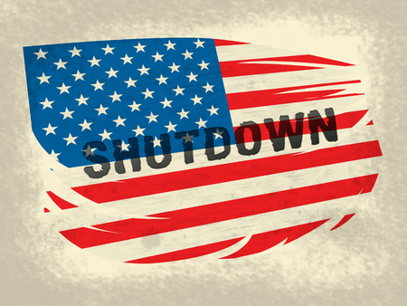 Usa Shutdown Political Flag Government Shut Down Means National Furlough. Senate And President In Washington DC Create Closure
