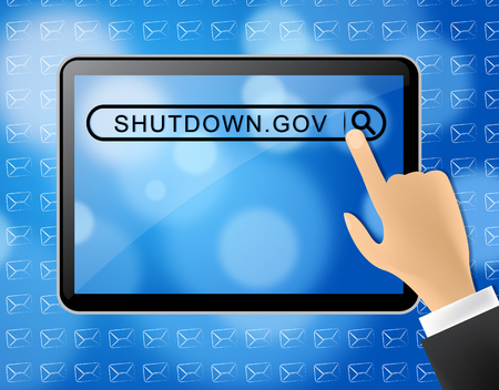 Government Shut Down Tablet Means United States Political Closure. President And Senators Cause Shutdown Across The Nation