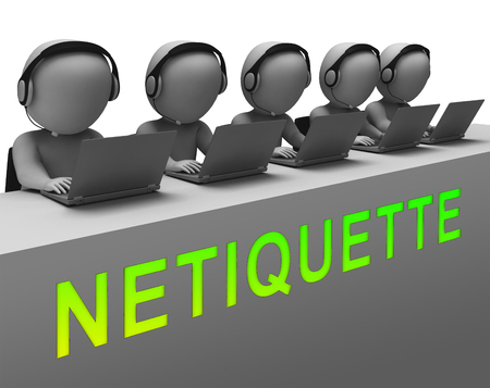 Netiquette Polite Online Conduct Or Web Etiquette. Civility Protocol On Networks And Tech - 3d Illustration Standard-Bild