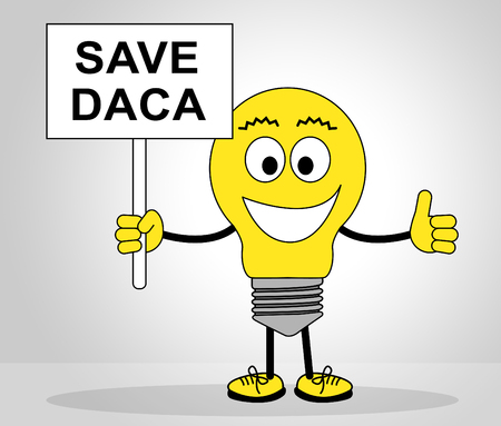 Daca Protest To Save Dreamers Deal Road To Citizenship. Naturalization Of Illegal immigrant Children In Usa - 2d Illustration Stockfoto