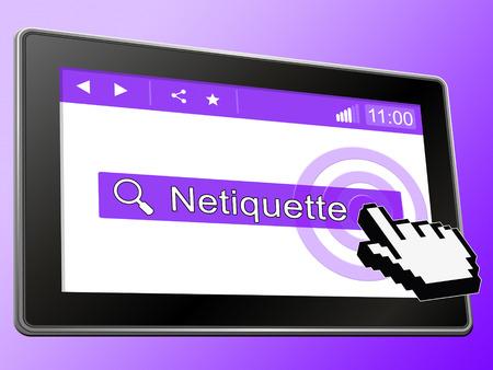Netiquette Polite Online Decorum Or Web Etiquette. Civility Protocol On Networks And Tech - 3d Illustration Banque d'images - 127189832