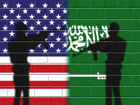 Us Saudi Arabia Flags And Relationship Or Conflict.   2d Illustration Stock Photo