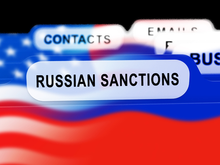 Russia Sanctions Monetary Embargo Against Russian Federation.   3d Illustration Stock Photo