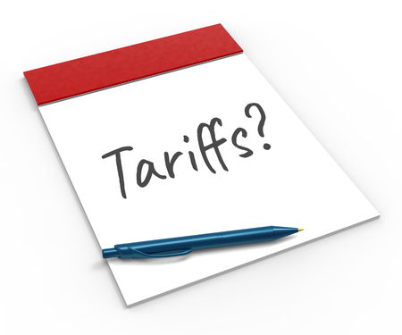 Trade Tariffs   As Tax And Penalty. Usa Finance Economy Trading Taxation - 3d Illustration Foto de archivo