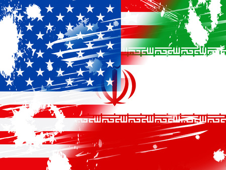 Us Iran Conflict And Sanctions Or Agreement Flag. Trade Deals And Crisis Or Tension - 2d Illustration