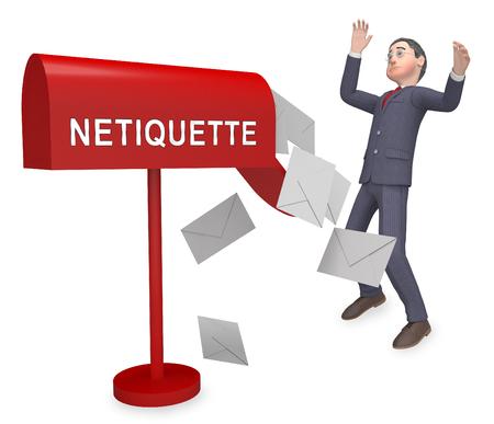 Netiquette Polite Online Behavoir Or Web Etiquette. Civility Protocol On Networks And Tech - 3d Illustration Standard-Bild