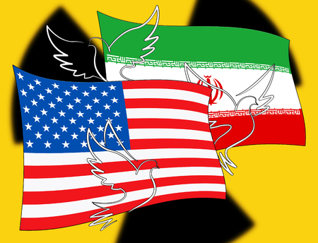 Iran Nuclear Deal Negotiation Or Talks With Usa Flags. United States Treaty Relations Or Threat - 2d Illustration