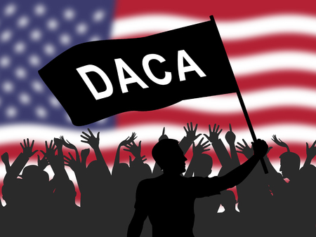 Daca Protest For Dreamers Deal Road To Citizenship. Naturalization Of Illegal immigrant Children In Usa - 2d Illustration