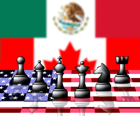 Nafta Negotiation Deal With Canada And Mexico. Treaty Or Agreement For Border Economics - 3d Illustration