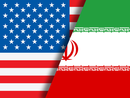 Us Iran Conflict And Sanctions Or Agreement Flags. Trade Deals And Crisis Or Tension - 2d Illustration Stock Photo