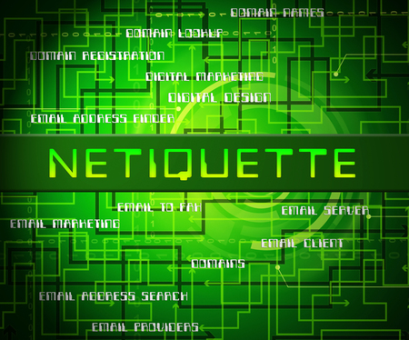 Netiquette Polite Online Behavoir Or Web Etiquette. Civility Protocol On Networks And Tech - 2d Illustration Standard-Bild