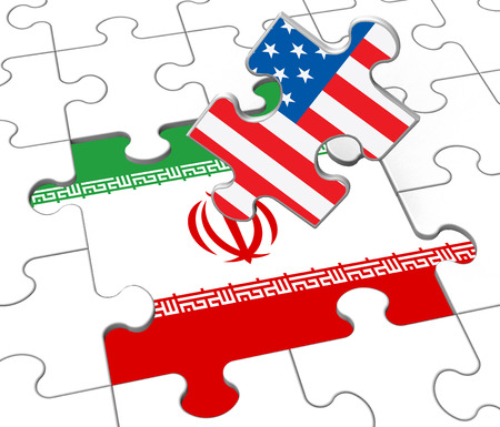 Us Iran Conflict And Sanctions Or Meeting. Trade Deals And Crisis Or Tension - 3d Illustration