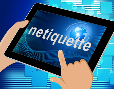 Netiquette Polite Digital Behavoir Or Web Etiquette. Civility Protocol On Networks And Tech - 3d Illustration Standard-Bild