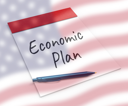 Economics Plan Strategy For Us Growth. Stock Market Financial Income Or Recession And Debt - 3d Illustration